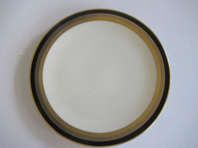Gorham Midnight Contessa Salad Plates 24 Kt Gold Band Set of 5
