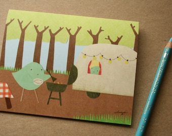 SALE! Was 4 Dollars! CARD: Camping Birds, Nature, Outdoors, Pacific Northwest, Forest, Woodland, Grilling