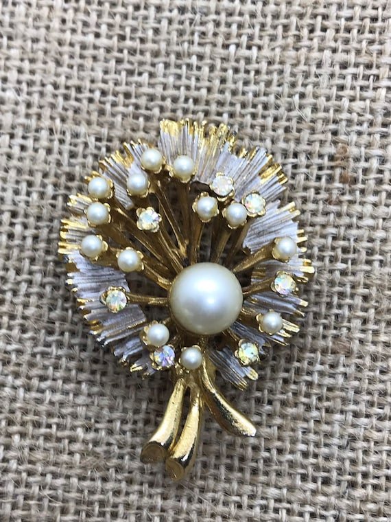 BSK Vintage Brooch with Pearl and Aurora Crystals