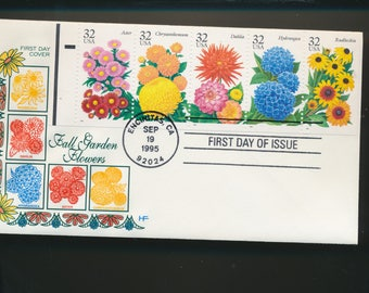 Fall Garden Flowers Booklet Pane  First Day Cover