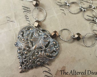 Victorian Filigree Heart Buckle Necklace - Vintage Assemblage by The Altered Diva