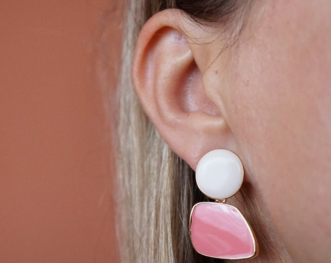 Korean Pink and White Acrylic Drop Dangle Korean Earring For Women