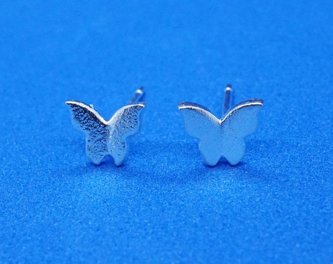 Small Butterfly Silver Stud for Nature Lover Earrings