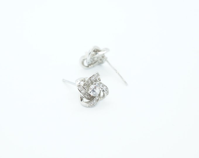 Crystal Knot Silver Stud Earrings perfect for weddings