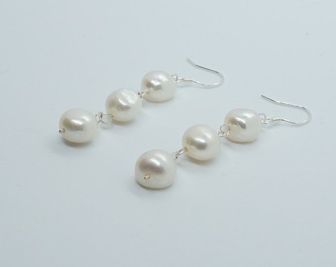 Real Silver Freshwater Pearl Dangle Earrings for Bridal gift jewelry set