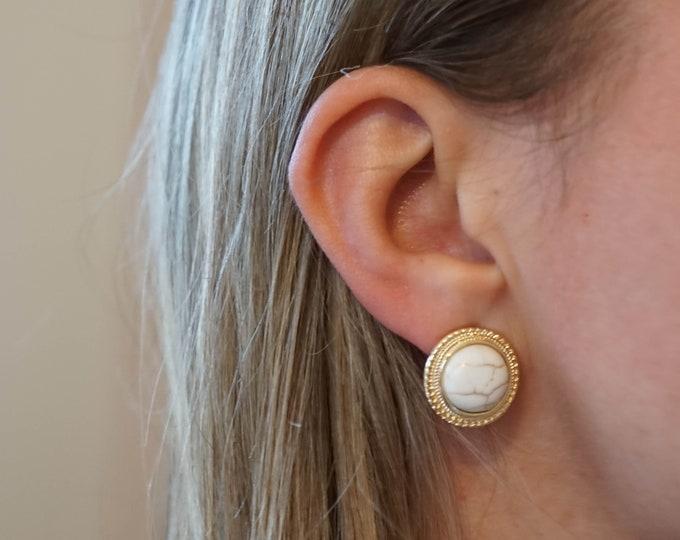 Vintage Earrings - Marble Earrings - Opal Earrings - Pearl Earrings - Best friend gift - Formal earrings - Luxury earrings