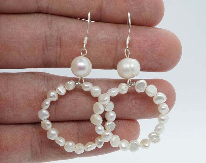 Real Silver Freshwater Pearls Drop Earrings - Bridal gift