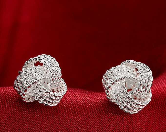 Celtic silver knot stud hand made earrings perfect for best friend gift