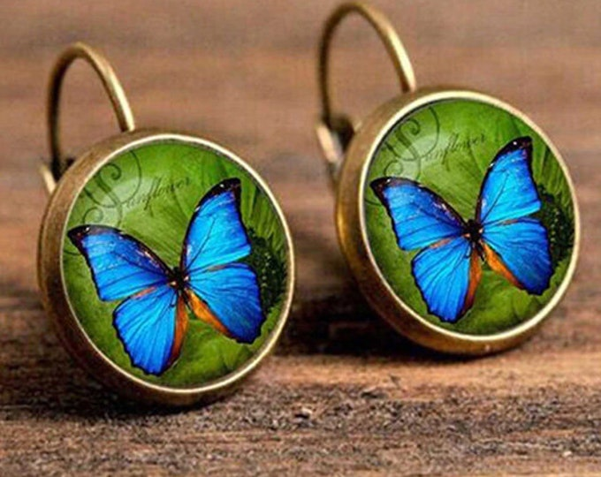 Blue butterfly boho vintage earrings with clip on