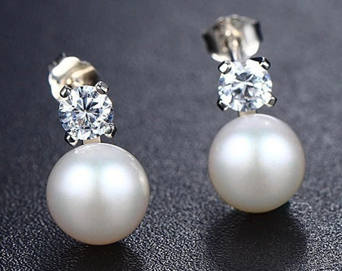 Real Silver Freshwater AAA Real Pearl Stud Earrings - Bridal gift