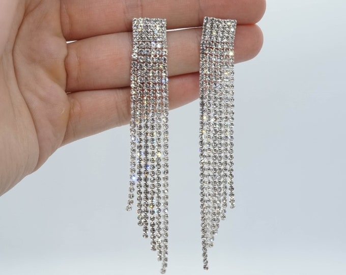 Long Dainty Wedding Statement Earrings - Gifts For Bridesmaid or Best Friend