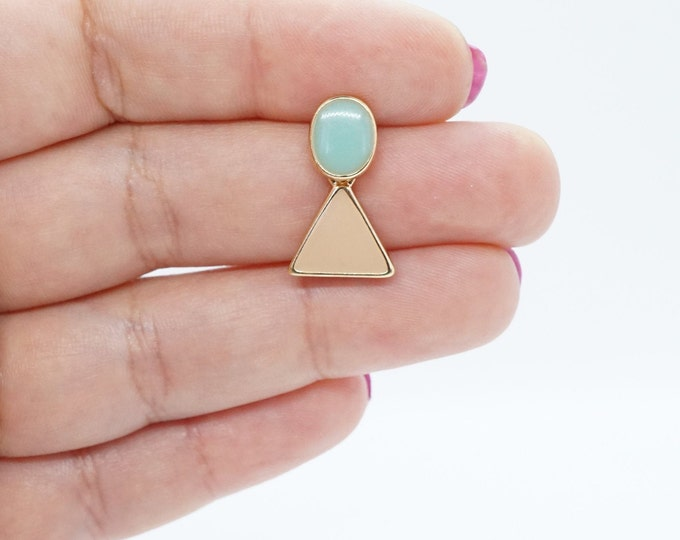 Pastel Pink and Blue Acrylic Dangle Drop Korean Earring For Women