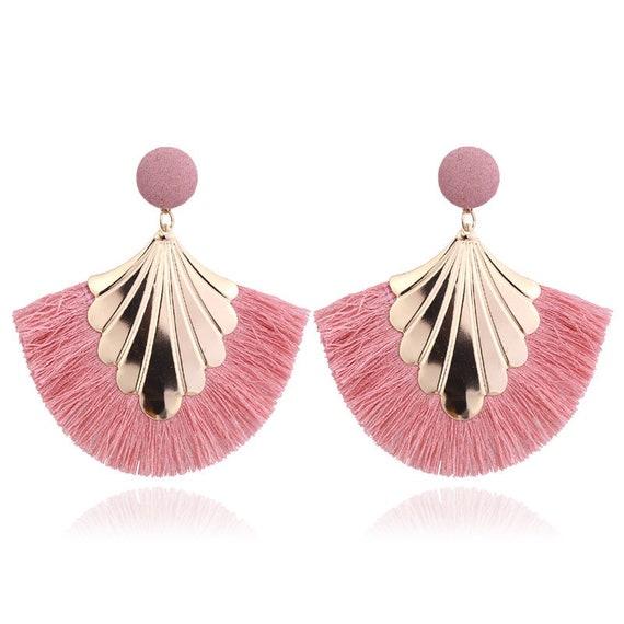 Long Tassel Shield Statement Dangle Earrings - Bohemian Fringe Vintage Earring