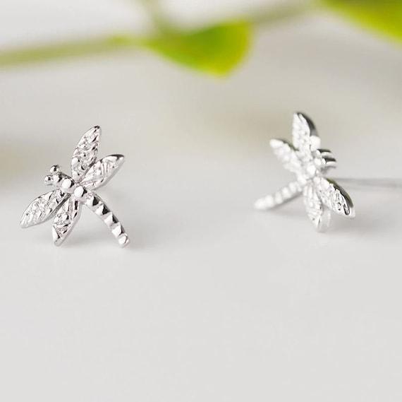 Dragonfly Sterling Silver 925 Stud Earrings for Women Girls Fashion Jewelry