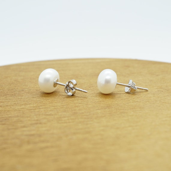 Natural Freshwater Pearl Stud Earrings For Women Real 925 Sterling Silver Jewelry Gift