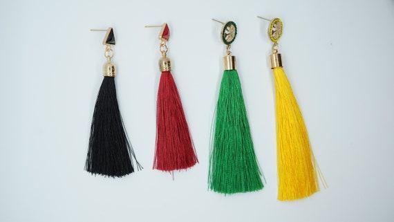 Vintage tassel earrings // Long Fringe Earrings // Silk Fabric Earrings // Boho Earrings