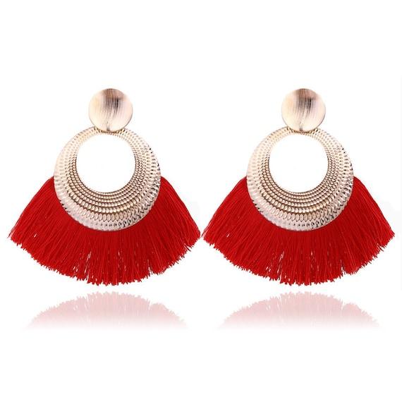 Long Tassel Statement Dangle Earrings - Bohemian Fringe Vintage Earring