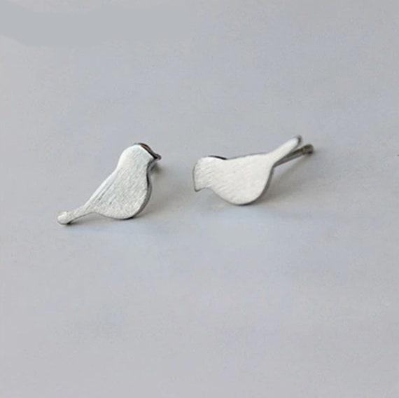 Silver Bird Stud Earrings // Bird lover earrings