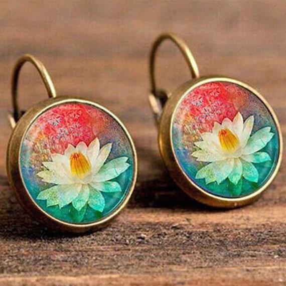 Lotus Flower Vintage Boho Earrings