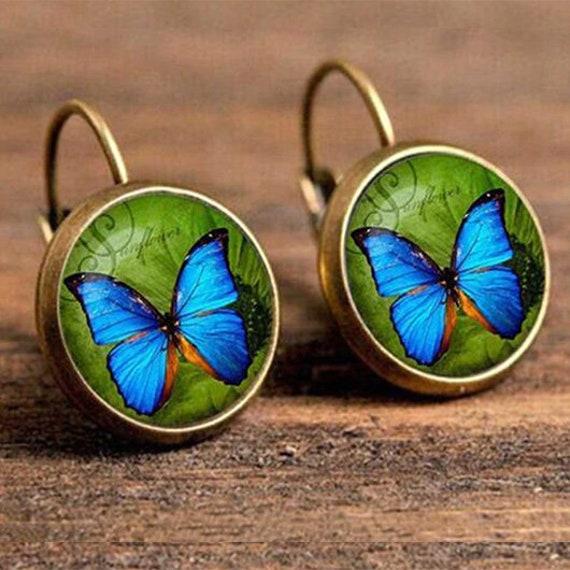 Blue Butterfly Earrings // Boho Earrings // Dangle Drop Earrings // Ethnic Earrings