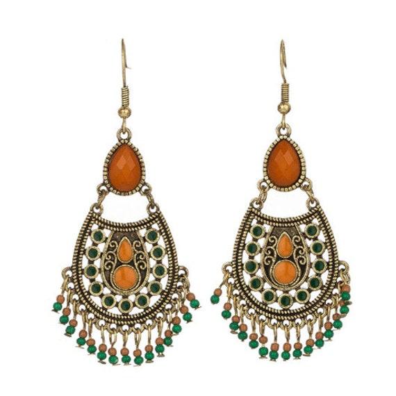 Brown and Green Beads Boho Earrings // Ethnic Earrings // Tribal Earrings