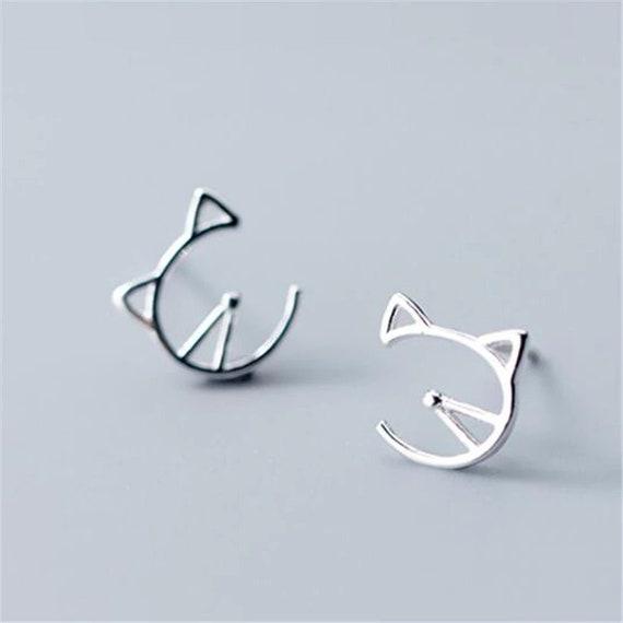 Silver Cat Stud Earrings // Cat lover earrings