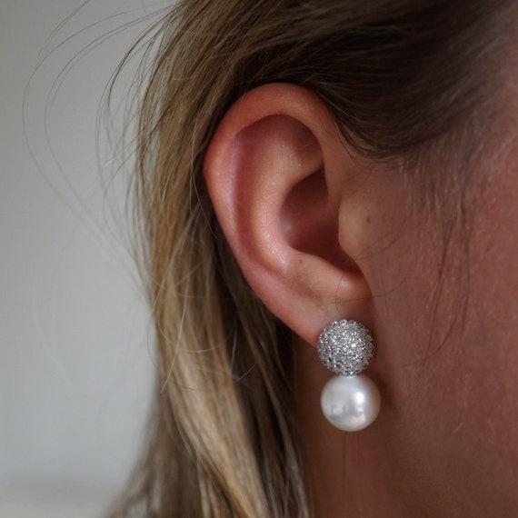 Silver Pearl Stud Glamour Earrings