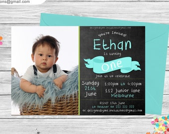 Chalkboard with banner Personalised Birthday Invitation - DIY Printing - JPEG File