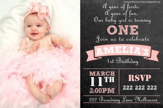 baby girl chalk board personalised 1st birthday invitation etsy