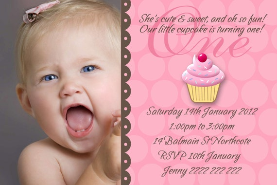 Cupcake 1st Birthday Party Invitation Girl