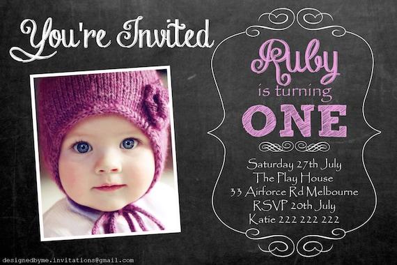chalk board personalised 1st birthday invitation diy etsy