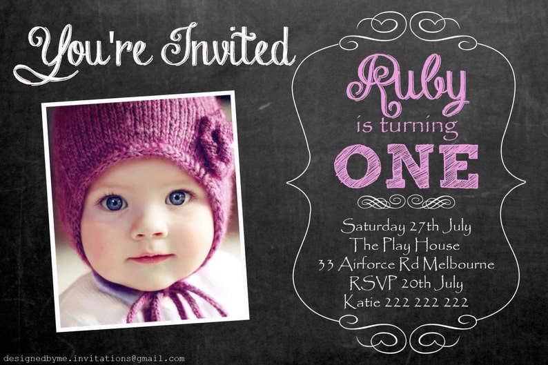 Chalk Board Personalised 1st Birthday Invitation DIY