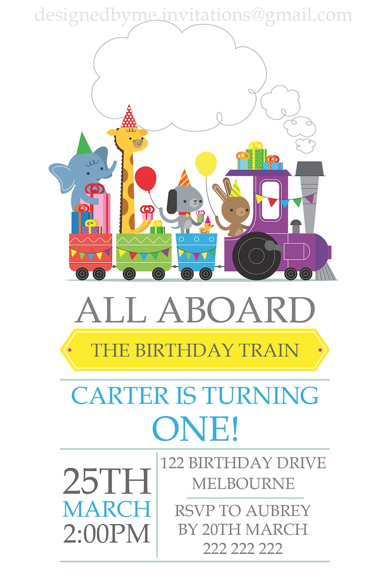 Party Zoo Animals Choo Train Birthday Invitation