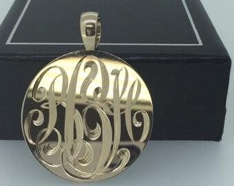 Monogram Necklace, Monogram Pendant, Ribbon Style Monogram, Personalized Necklace, Custom Silver Necklace, Personalized Pendant