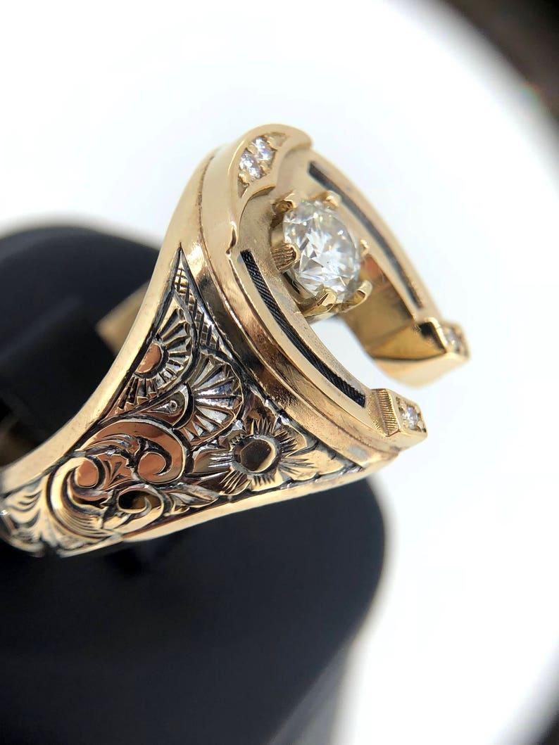 47a0b84ebeb49 Unique Mens Ring, Mens Diamond Ring, Horseshoe Ring, Solid 14k Gold Ring,  Antique Ring, Mens Gold Ring, Custom Signet Ring, Mens Lucky Ring