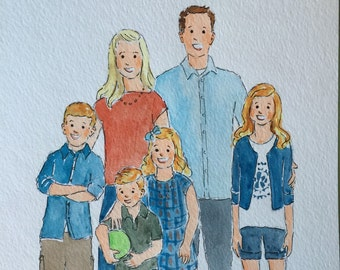 1-10 people, Family portrait illustration -8x10 or 11x14