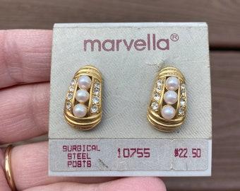 Vintage Earrings Purple and Gray Earrings Purple Earrings Vintage Rhinestone Earrings Faux Pearl Earrings Pierced Earrings