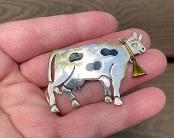 Highland Bull Vintage Silver tone Pin Brooch of Bull Head animal