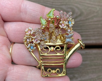Vintage RoseWatering Can Brooches