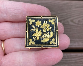 Antique Vintage 1930s 1940s 1950s Blue Enamel MOTHER Mothers Day Birthday Brooch Broach gold tone C Clasp