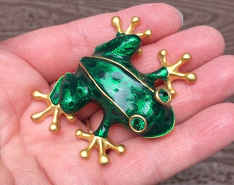 57c24fb51 Vintage Jewelry Absolutely Stunning Large Green Frog Pin Brooch