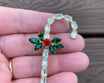 Vintage Candy Cane Pin and Emerald Rhinestone Earrings