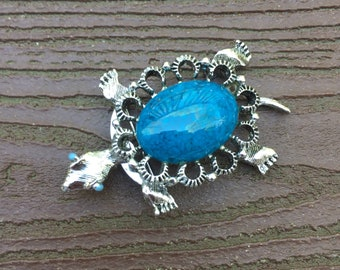 Vintage Jewelry Signed Gerry's Blue Turtle Pin Brooch