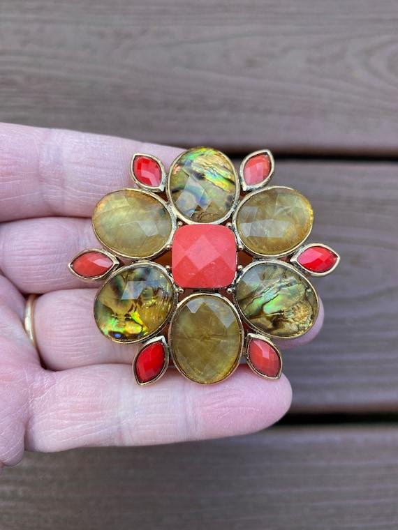20 inch Gold Toned and Rust Orange Plastic Bead Necklace On Sale Liz Claiborne Costume Jewelry Fashion Accessory