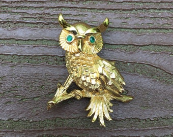 Vintage Jewelry Signed Monet Detailed Owl Pin Brooch