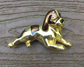 Vintage Signed New View Jewelry Pin Brooch Dog