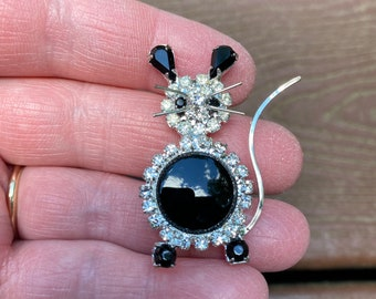 Vintage Jewelry Adorable Black and White Rhinestone Mouse Pin Brooch