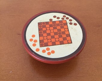 Vintage Fisher-Price Little People Brown Checkerboard Checkers Table