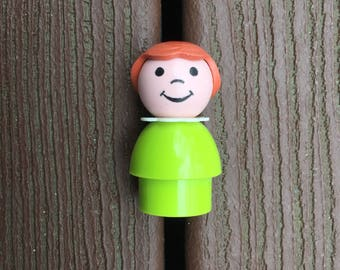 Vintage Fisher-Price Little People HTF Lime Green Girl Brown Hair
