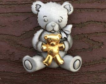 Vintage Signed JJ Jonette Jewelry Teddy Bear Holding a Teddy Bear Pin Brooch